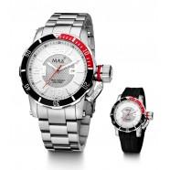 Max - Diver - Red/ White - Interchange Steel/Rubber Strap