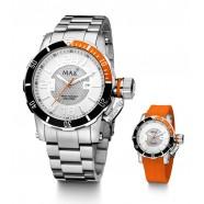 Max - Diver - Orange/ White - Interchange Steel/Rubber Strap