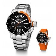 Max - Diver - Orange/ Black - Interchange Steel/Rubber Strap